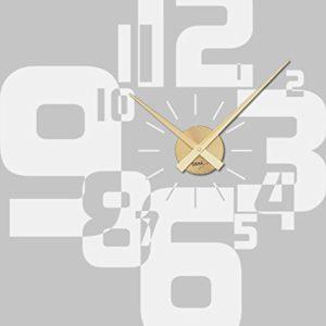 GRAZDesign Wandtattoo Uhr Wanduhr mit Uhrwerk für Wohnzimmer Moderner Zahlenmix Zahlen (63x57cm / 010 Weiss/Uhrwerk Gold…