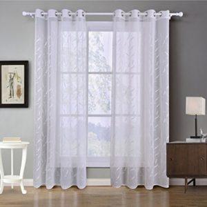 GWELL Weiß Transparent Gardinen Ösenschal Vorhang mit Ösen Dekoschal für Wohnzimmer Schlafzimmer 1er-Pack