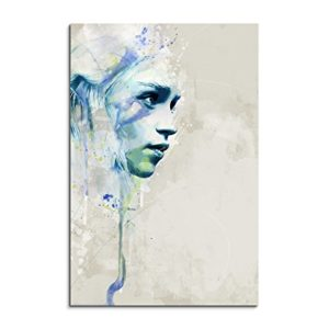 Game of-Thrones Khaleesi Aqua 90x60cm – Splash Art Paul Sinus Wandbild auf Leinwand – Malerei, Kunstbild, Aquarell, Fineartprint