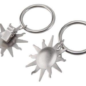 Gardinenring / Ring mit Dekoklammer SONNE, matt-chrom, Set 10 Stück