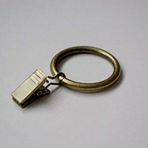 Gardinenring mit Clip, Durchmesser 35 mm, Antik-Goldfarben