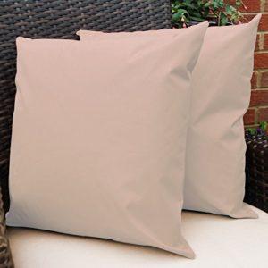 Gartenkissen Sitzpolster – 2 Stück, 43cm x 43cm – Erröten Schale Beige – Wasserabweisend mit einer Textilfaserfüllung – Dekoratives Zierkissen für Gartenbänke, Stühle oder Sofas