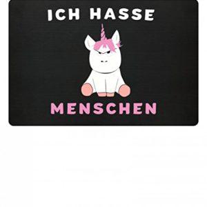 """Generic Hochwertige Einhorn Fußmatte – """"Ich hasse Menschen"""" Fußabtreter, Größe 60 x 40cm, Türmatte Inndoor & Outdoor, Fußmatte Lustig, Schmutzabstreifer, Schmutzfangmatte"""