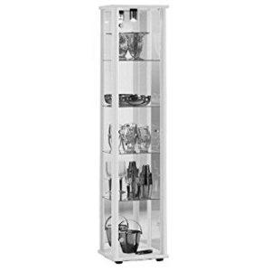 K-Möbel Glasvitrine in Weiss (176x37x33 cm) mit 4 höhenverstellbaren Glasböden aus ESG, mit Spiegel; beleuchtet; perfekt…