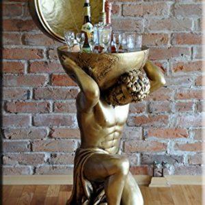InterDecorShop Griechischer Minibar Atlas Bar Vitrine Figur Skulptur Globus Welt