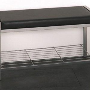 Haku Bank mit Schuhabagel in alu-Schwarz mit Kunstleder bezogen; Maße (B/T/H) in cm: 80 x 32 x 48