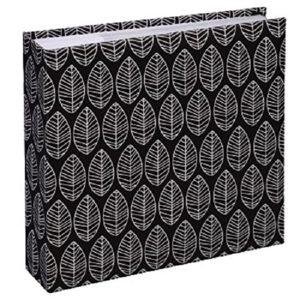 Hama Fotoalbum La Fleur (Jumbo Album mit 100 weißen Seiten, für 400 Fotos im Format 10×15, Blätter-Muster, 30×30) XXL Fotobuch, schwarz