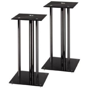 Hama Lautsprecherständer 2er-Set mit versteckter Kabelführung (universaler Boxen-Ständer mit Glas Auflage, Lautsprecher…