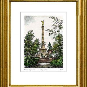Handkolorierte original Radierung Berlin, Siegessäule von Falk im Rahmen Gold hinter Passepartout, Graphik, kein Kunstdruck, kein Leinwandbild