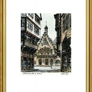 Kunstverlag Christoph Falk Handkolorierte original Radierung Frankfurt, Römer von Peters im Rahmen Goldkehle, Graphik, kein Kunstdruck, kein Leinwandbild