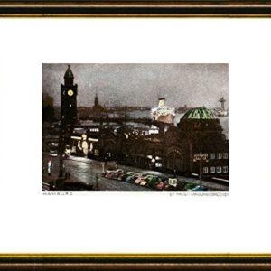 Kunstverlag Christoph Falk Handkolorierte original Radierung Hamburg, Landungsbrücken von Peters im Rahmen Braun-Gold, Graphik, kein Kunstdruck, kein Leinwandbild