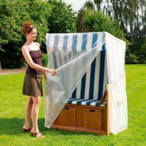 Heinemeyer Schutzhülle für Strandkorb 130x90x163/132cm, Gitterfolie transparent