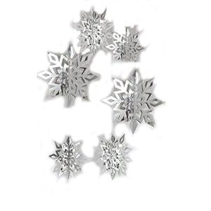 Hemore 6 Pcs 3D Schneeflocken,Fenstersticker Winter Fensterbild Fensterdekoration Weihnachten