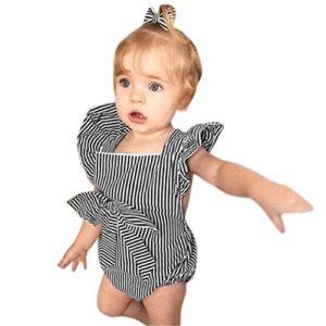 Hirolan Kleinkind Strampler Mädchen Gestreift Spielanzug Säugling Baby Bowknot Outfits Rüsche Overall Bodys & Einteiler Pulloverhemd Strampelanzug Festzug Kleidung