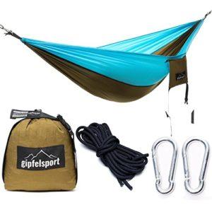 gipfelsport Ultraleicht Hängematte – Outdoor Reisehängematte mit Aufhängeset I Travel Hammock für Camping, Garten, Reise…