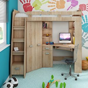 Hochbett/Etagenbett/Entresole – alle in einer links Ablesen Treppen – Kinder Möbel Set. Bett, Kleiderschrank, Regal, Schreibtisch Sonoma Oak – Purple