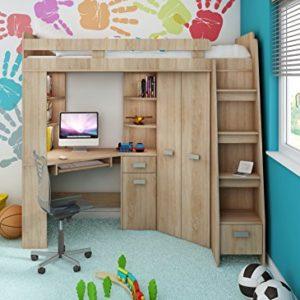 Hochbett/Etagenbett Alles in einem – Kinder-Möbelset Bett, Kleiderschrank, Regale, Schreibtisch