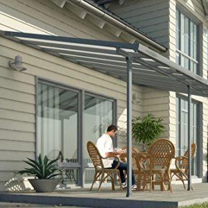 Hochwertige ALU Terrassenüberdachung/Veranda – 420 x 300 (BxT) / Überdachung Palram Sierra Grau