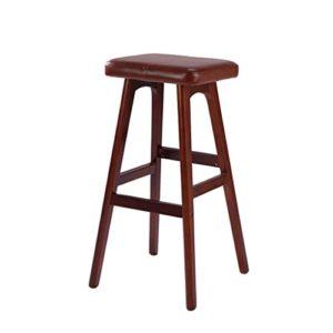 Hocker DINJUEN Stuhl Barhocker Massivholz + braun PU kreative Mode Bar Familie praktische 79CM Mehrzweckgebrauch
