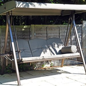 SORARA 3-sitzer Hollywoodschaukel | Braun | extra stabile Ausführung | Gartenschaukel Gartenliege Schaukelbank Gartenmöbel
