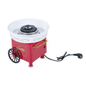 HOMCOM Zuckerwattemaschine Zuckerwattegerät 450 W Zuckerwatte 2 Heizröhren mit 10 Stäbchen Edelstahl Alu (Modell 2/Rot)