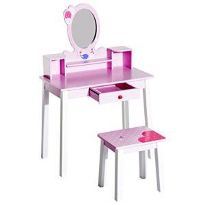 Homcom Kids Holz Schminktisch und Hocker Make Up Schreibtisch (Pink)
