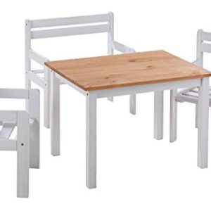 Home4You Sitzgruppe Kindergruppe Kindersitzgruppe Kai 1 | Kiefernholz Weiß | 1 Tisch 2 Stühle 1 Sitzbank