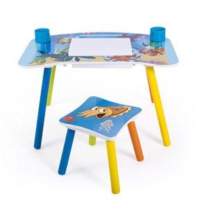 Homestyle4u 1122 Kindersitzgruppe Meer Fische , Kindermöbel Set aus 1 Kindertisch und 1 Hocker Papierrolle , Holz Blau 43 x 43 x 73