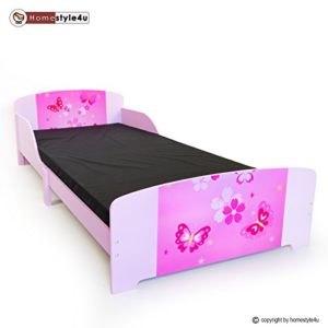 Homestyle4u 1214, Kinderbett, Motiv Schmetterling Blumen, Mehrfarbig, 90×200 cm
