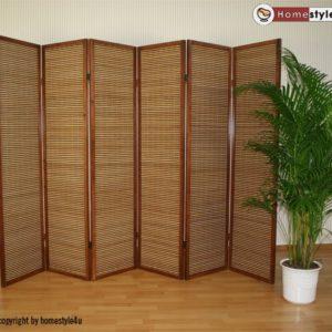 Homestyle4u 384 Paravent 6 teilig Raumteiler 6 fach Holz Braun Shoji Bambus Trennwand Spanische Wand Sichtschutz faltbar