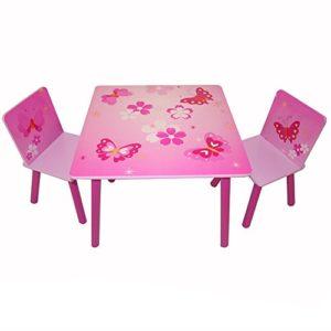 Homestyle4u 643, Kindersitzgruppe Schmetterling, Kindermöbel Set aus 1 Kindertisch und 2 Stühle, Holz, Pink Rosa