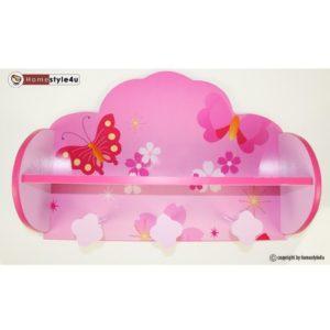 Homestyle4u 771 Kindergarderobe Schmetterling Blumen , Kinderzimmer Garderobe mit 3 Haken , Holz , Pink Rosa