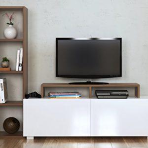 Homidea Aster Wohnwand – TV Lowboard – Fernsehtisch mit Regale in modernem Design