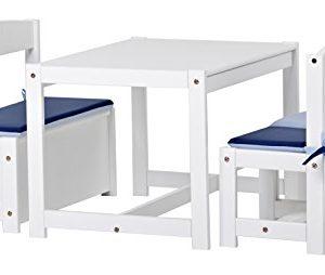 Hoppekids Mathilde Kindersitzgruppe mit Kissenset in blau und lime mit 1 Kindertisch, 2 Kinderstühle und 1 Bank teilmassiv sehr stabil, Holz, weiß , 64 x 74 x 56 cm