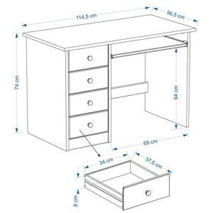 IDIMEX Kinderschreibtisch Schülerschreibtisch MALTE Schreibtisch mit Tastaturauszug und 4 Schubladen, Kiefer massiv…