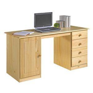 IDIMEX Schreibtisch Computertisch PC-Schreibtisch, Kiefer massiv in natur lackiert mit vier Schubladen