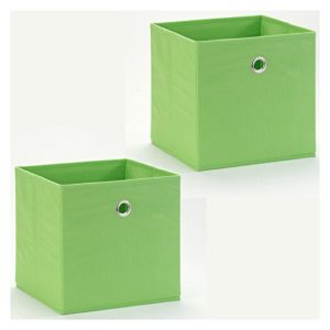 IDIMEX Stoffbox Faltbox Aufbewahrungsbox Einschubkorb Regalbox ELA, faltbar, 2er Pack, grün