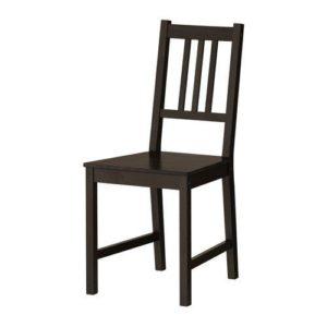 IKEA Stuhl 'Stefan' Holzstuhl Küchenstuhl aus gebeizter, massiver Kiefer – SCHWARZBRAUN