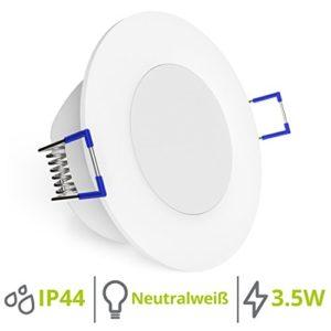 linovum WEEVO runde LED IP44 Einbauleuchte 230V Bad & Außen mit neutralweiß 3,5W – Deckenspots mit sehr flachem Einbau…