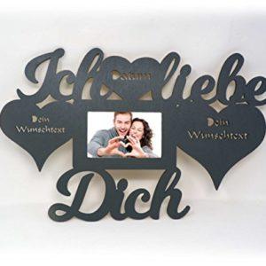 Ich liebe dich Geschenke für Männer mit Name und Texte Gravur Wand Foto Bilderrahmen Herzen Partner 10×15 cm Ehepaar Paar Pärchen Frauen Freundin Frau Ehefrau Herz Valentinstag personalisiert