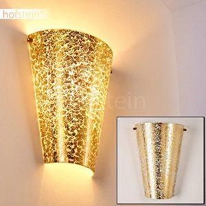 Wandlampe Zera aus Metall/Glas in Gold, moderne Wandleuchte mit Up & Down-Effekt, 1 x E27 max. 60 Watt, Innenwandleuchte mit Blattgold-Effekt, geeignet für LED Leuchtmittel