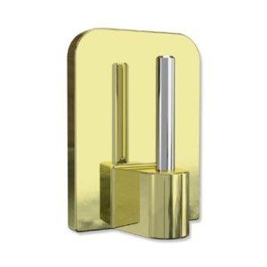 Interdeco Selbst-Klebehaken mit Metallstift in Messing farbig für Vitragestangen (4 Stück)