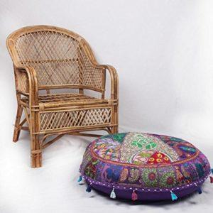 Jaipurtextilehub JTH Bohemian Traditionelle Patchwork indischen Pouf groß rund Hocker mit Sitz (Größe: 81,3x 22,9x 81,3cm)