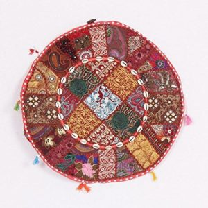 Jaipurtextilehub Bohemian Traditionelle Patchwork indischen Pouf groß rund Ottoman Sitz Pouf