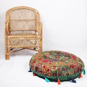 Jaipurtextilehub JTH Bohemian Pouf Polsterhocker grün Patchwork indischen Pouf Vintage Sitz Pouf (Größe: 81,3x 22,9x 81,3cm)