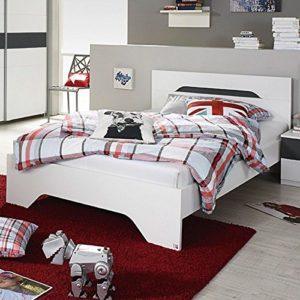 Jugendbett 100*200 cm weiß / grau metallic Jugendliege Kinderbett Bettliege Bett Bettgestell Gästezimmer Jugendzimmer Kinderzimmer