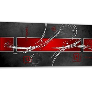 KD Dsign+ XXL Glasbild AG312500115 MURAL LINE STYLE RED 125 x 50 cm/WANDBILD Deco Glass/Handmade / Reduziert!