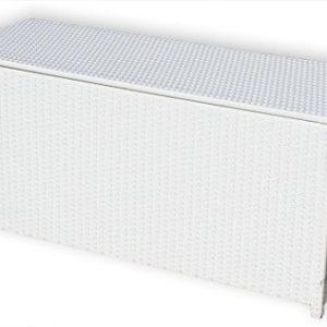 KMH®, Kissentruhe/Kissenbox Emma 130x50x61 cm aus weissem Polyrattan (4 String) (#106090)