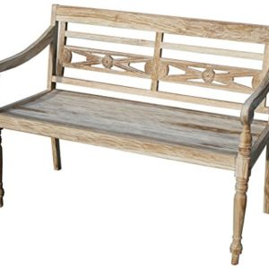 KMH®, Teak 2-sitzer Gartenbank Harry (115 cm) im Shabby Chic Stil – whitewashed (#102142)
