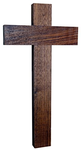 Kaltner Präsente Geschenkidee – Wandkreuz Echt Nussbaum Holz Kreuz Holzkreuz Kruzifix für die Wand 35 cm klassisch